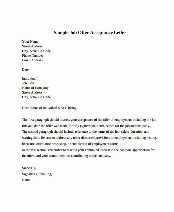 Job Offer Letter Template Doc Lovely Job Fer Acceptance Letter 8 Free Pdf Documents