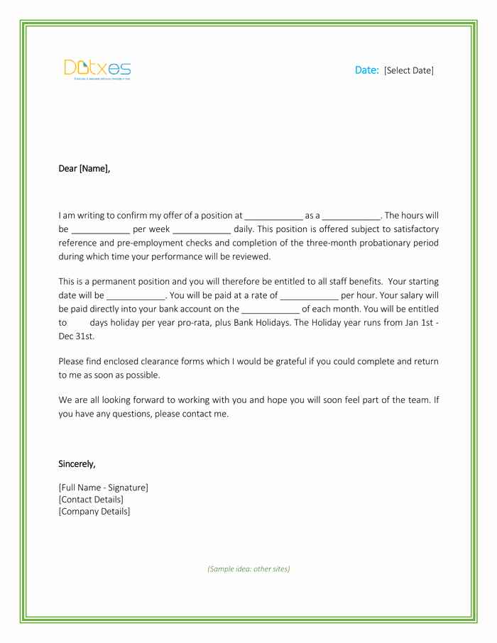 Job Offer Letter Template Doc Luxury Job Fer Letter – Download Free formats and Sample for