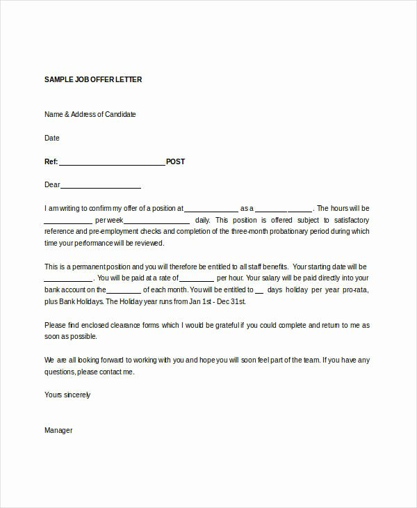 Job Offer Letter Template Doc New Fer Letter Templates In Doc 50 Free Word Pdf