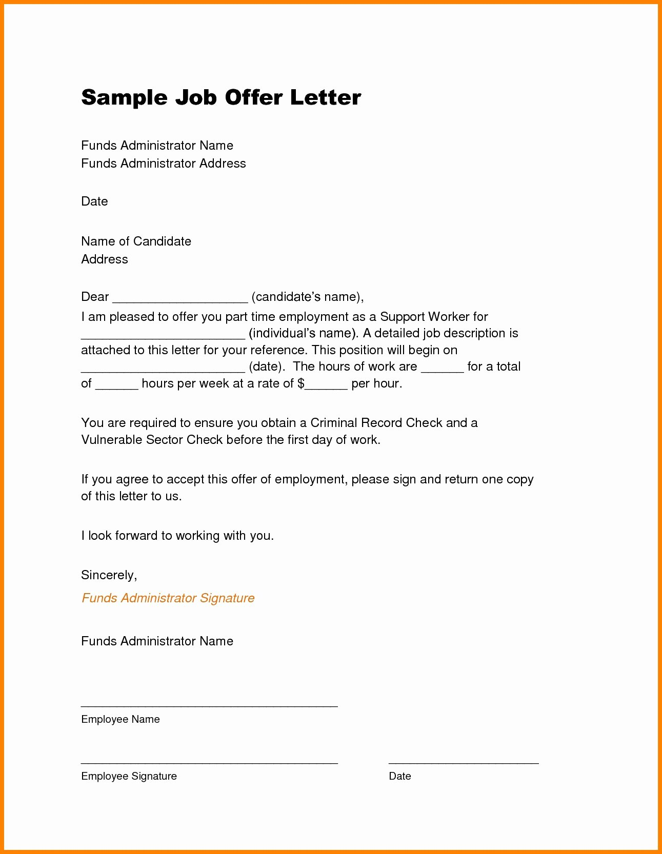 Job Offer Letter Template Doc New Job Fer Letter Template Pdf Examples