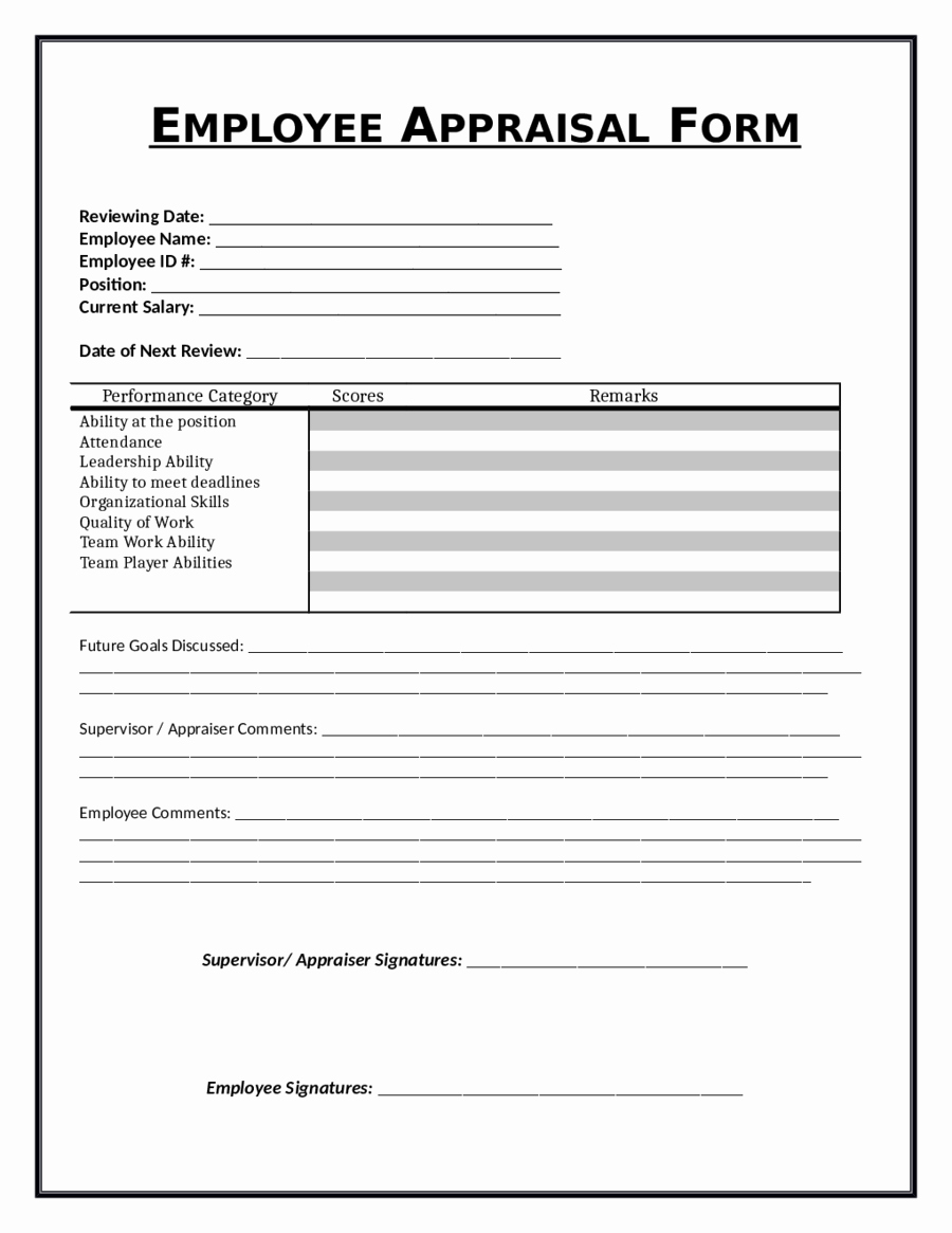 Job Performance Review Template Elegant 2019 Employee Evaluation form Fillable Printable Pdf