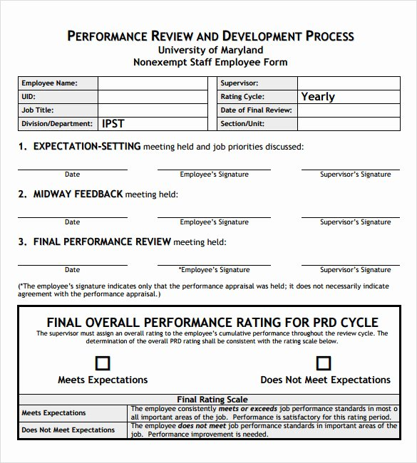 Job Performance Review Template Inspirational 9 Employee Performance Review Templates