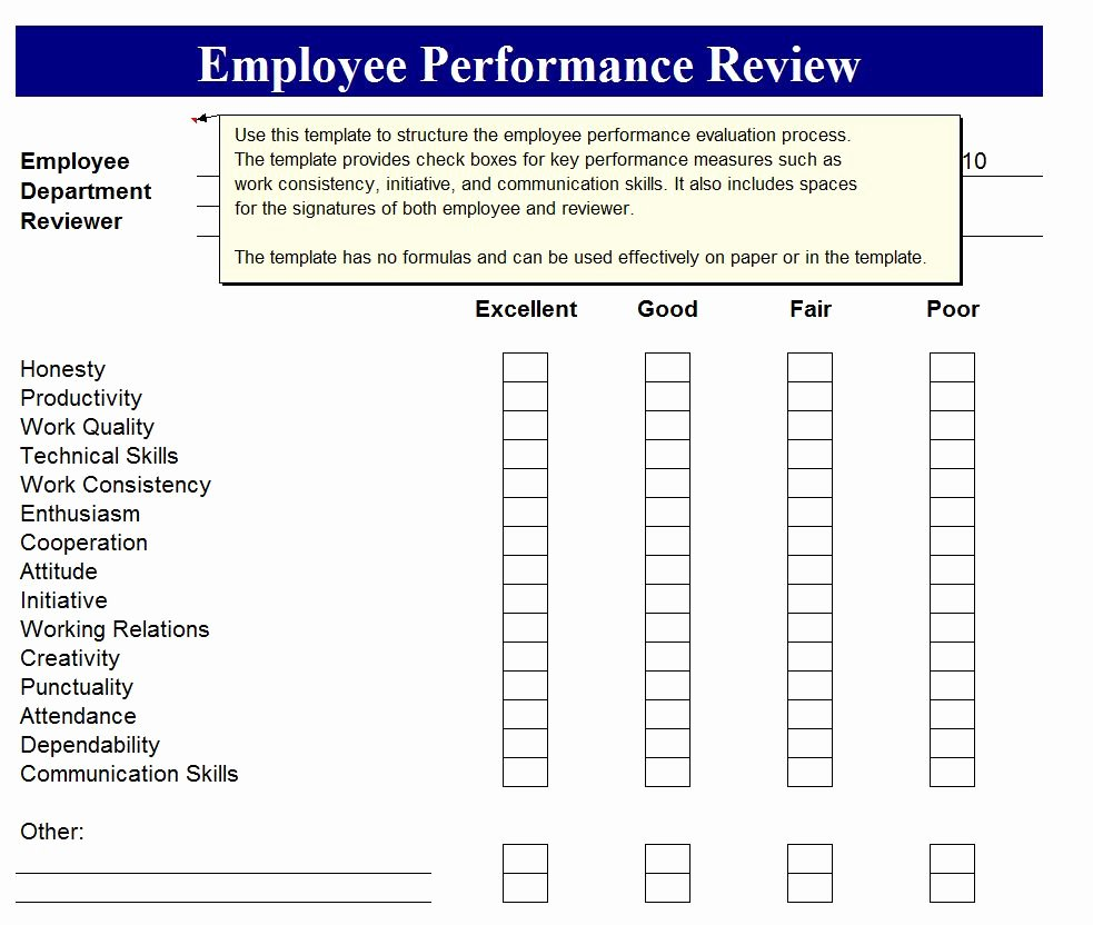 Job Performance Review Template Inspirational Employee Performance Review