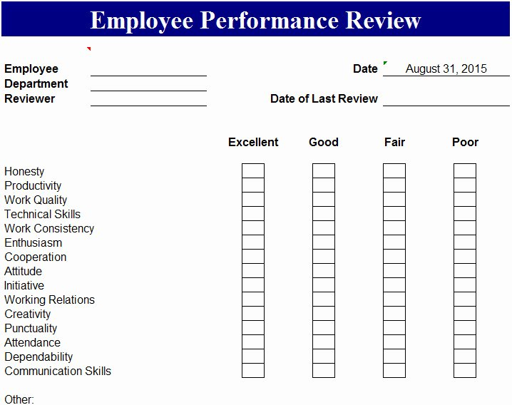 Job Performance Review Template New Employee Performance Review Template