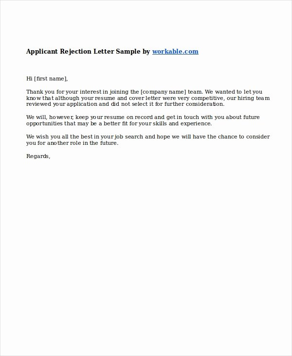 Job Rejection Email Template Beautiful 9 Job Rejection Letters Free Sample Example format