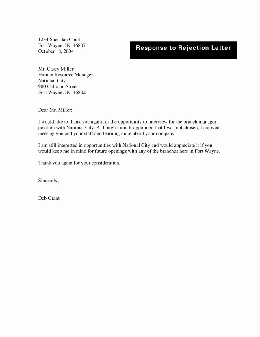 Job Rejection Email Template Best Of Job Rejection Letter Candidate Rejection Letter Sample