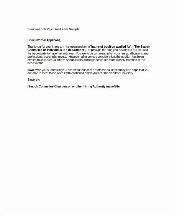 Job Rejection Email Template Elegant 9 Job Rejection Letters Free Sample Example format
