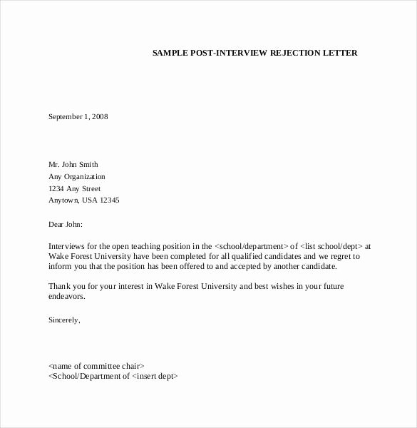 Job Rejection Email Template Fresh Job Interview Rejection Letter Example