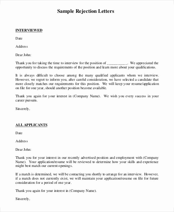 Job Rejection Email Template Lovely 7 Rejection Letter Templates 7 Free Sample Example