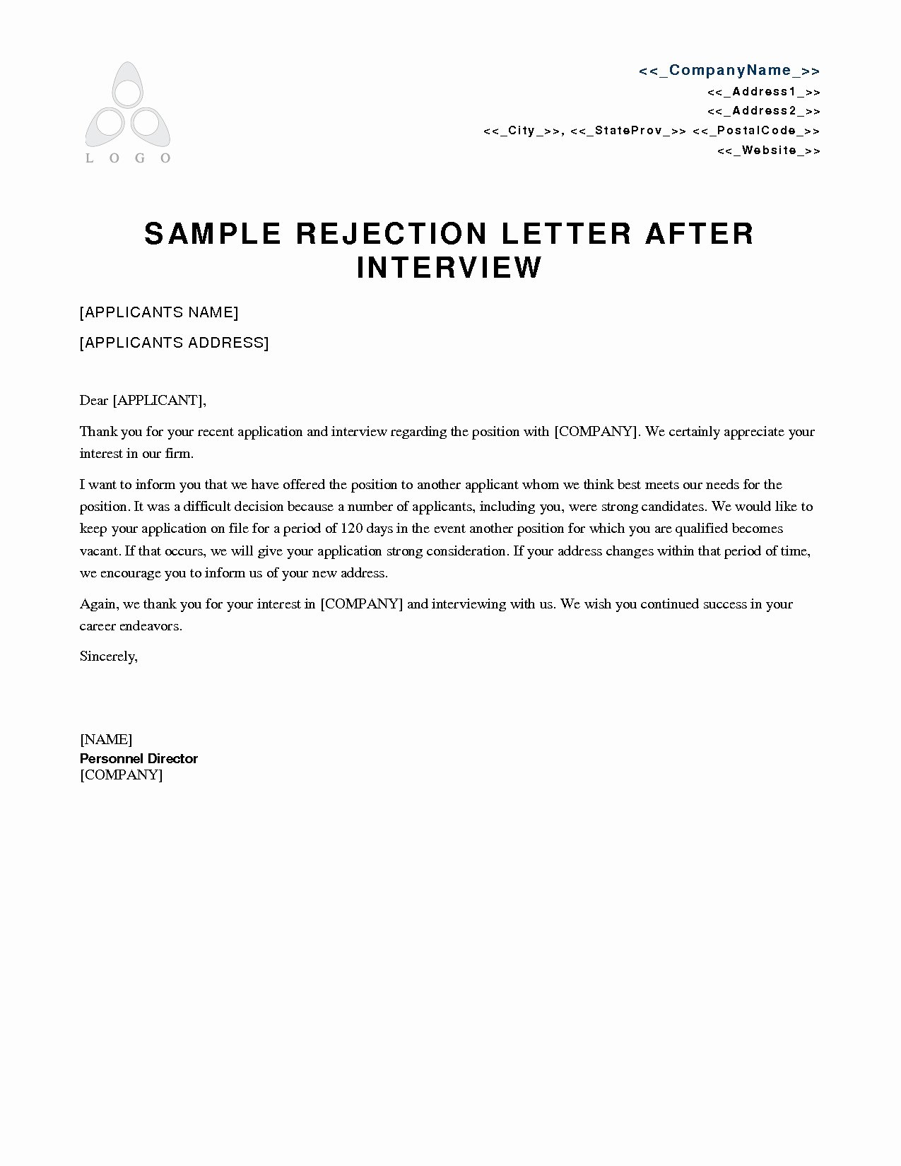 Job Rejection Email Template Lovely Rejection Letter Template after Interview Collection