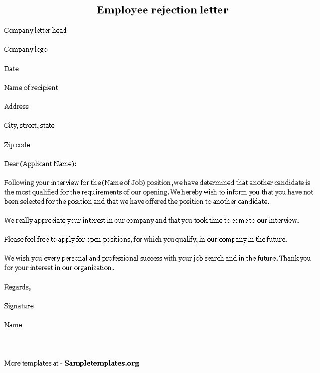 Job Rejection Email Template Lovely Sample Rejection Letter to Applicant after Interview