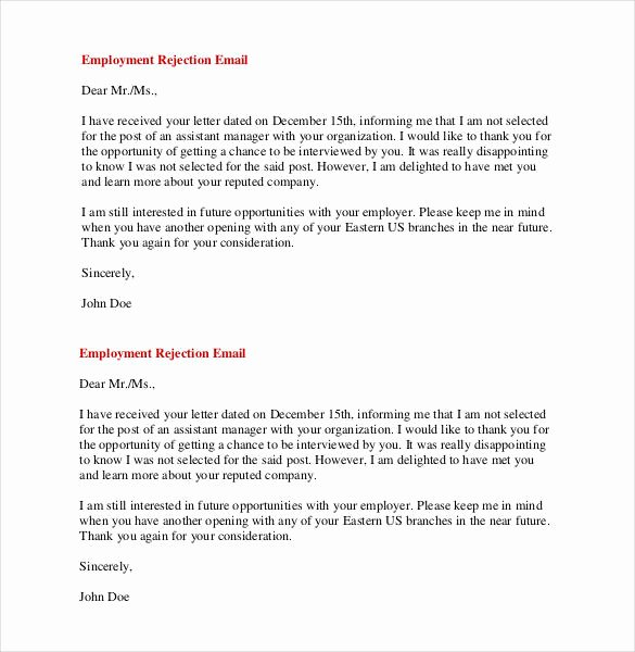 Job Rejection Email Template Luxury 27 Rejection Letters Template Hr Templates