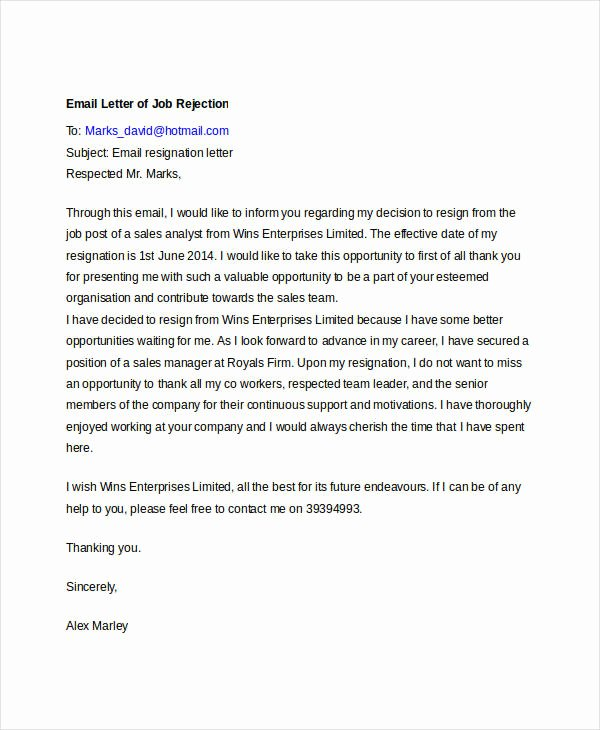 Job Rejection Email Template New 8 Email Rejection Letters Free Sample Example format