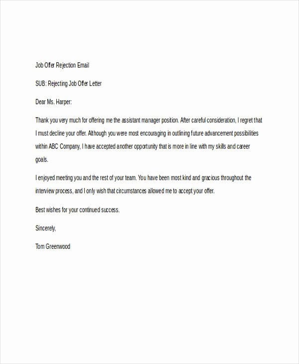 Job Rejection Email Template New 8 Rejection Email Examples & Samples