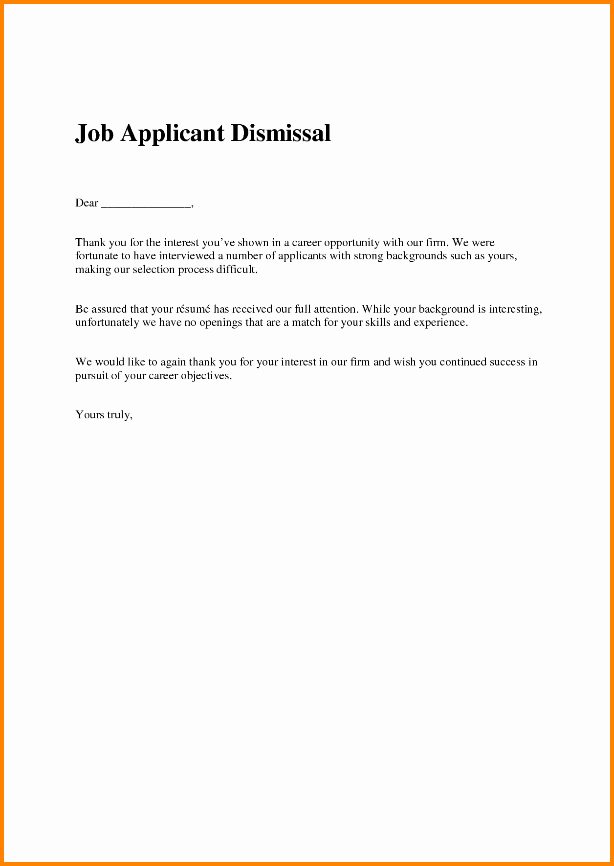 Job Rejection Email Template Unique 16 Job Rejection Letter Sample to Applicant