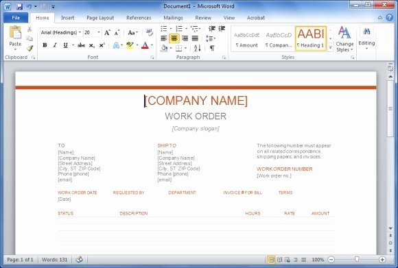 Job Work order Template Awesome Free Work order Template for Word