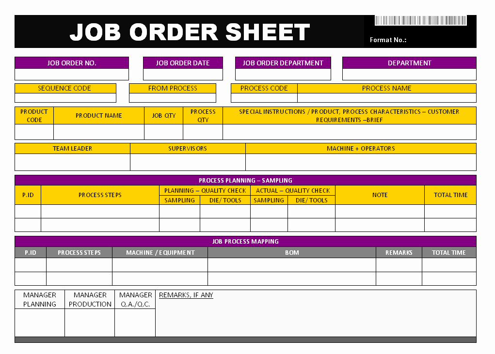 Job Work order Template Awesome Job order Sheet