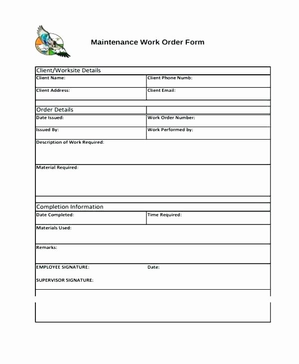 Job Work order Template Fresh Job Pletion form Template Download Report Sample