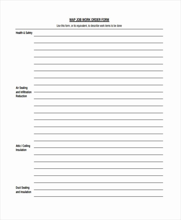 Job Work order Template Luxury 17 Work order formats