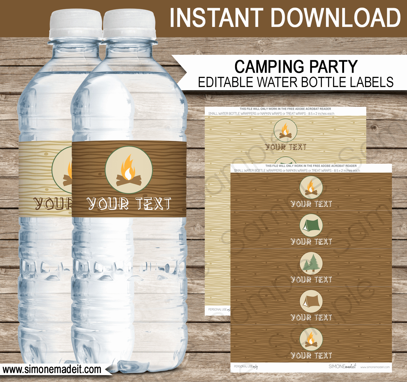 Label for Water Bottle Template Elegant Camping Party Water Bottle Labels