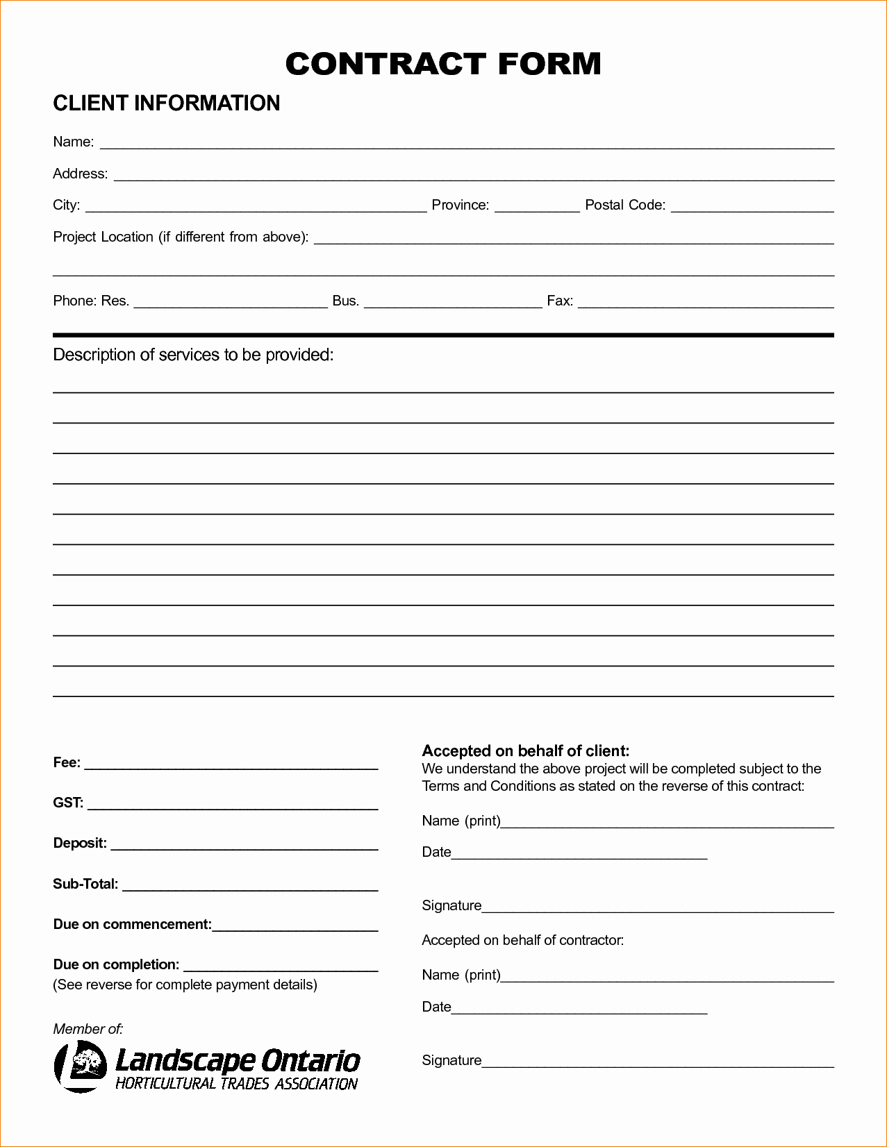 Landscape Bid Template Free Best Of 8 Landscaping Contract Template