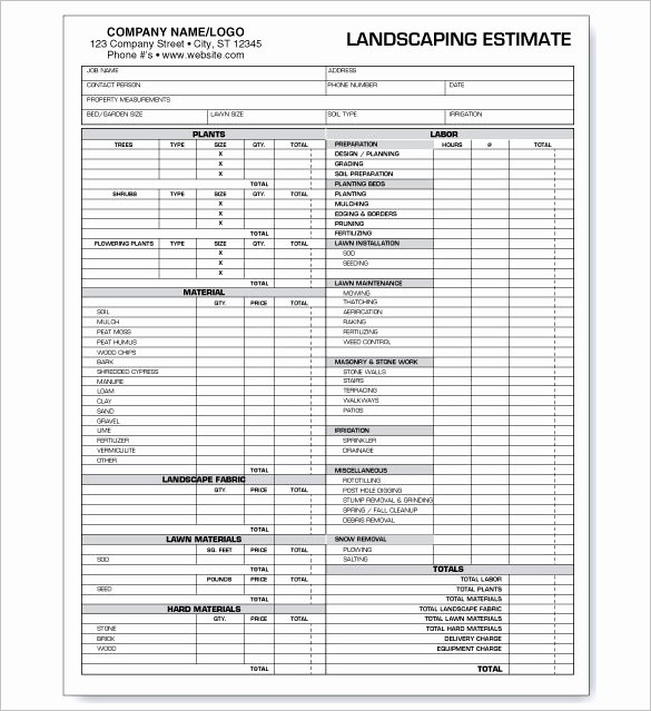 Landscape Bid Template Free Lovely 10 Landscaping Estimate Templates Doc Pdf Excel