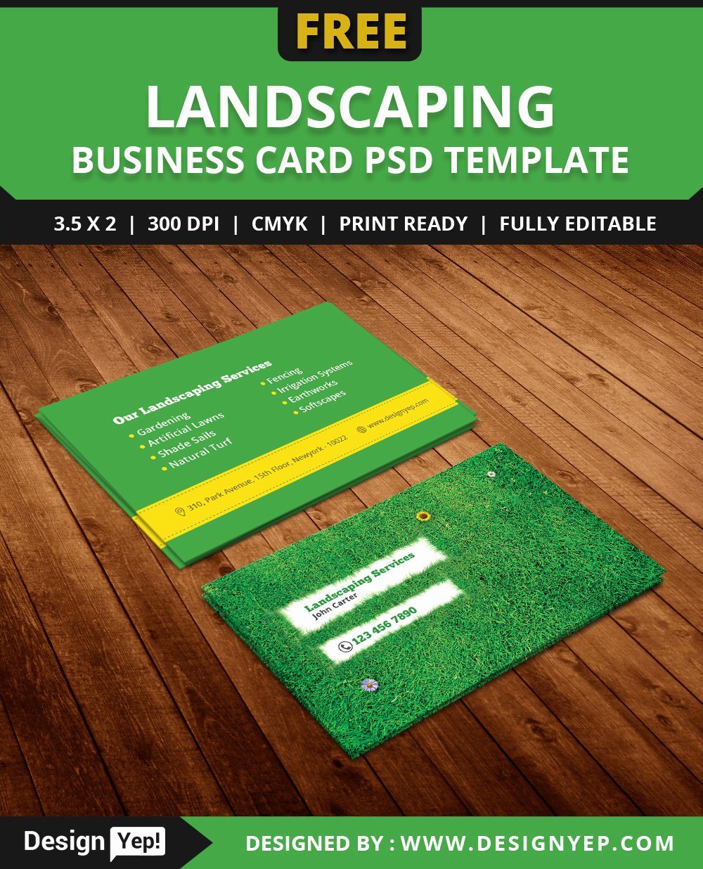Landscape Business Card Template Awesome Free Landscaping Business Card Template Psd On Behance