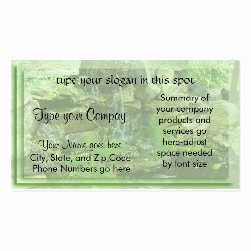 Landscape Business Card Template Awesome Landscaping Waterfall Double Sided Standard Business Cards