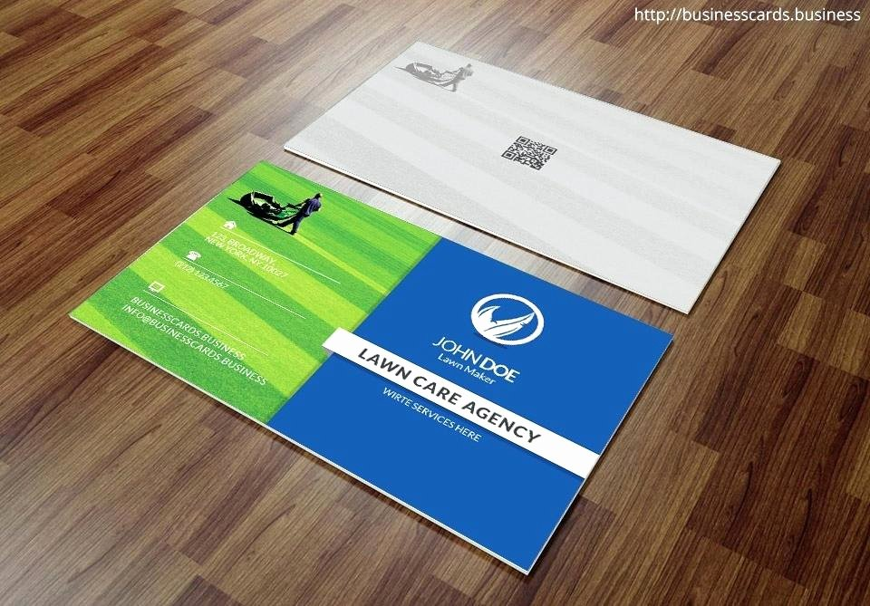 Landscape Business Card Template Beautiful Lawn Maintenance Business Cards Landscaping Care Mower