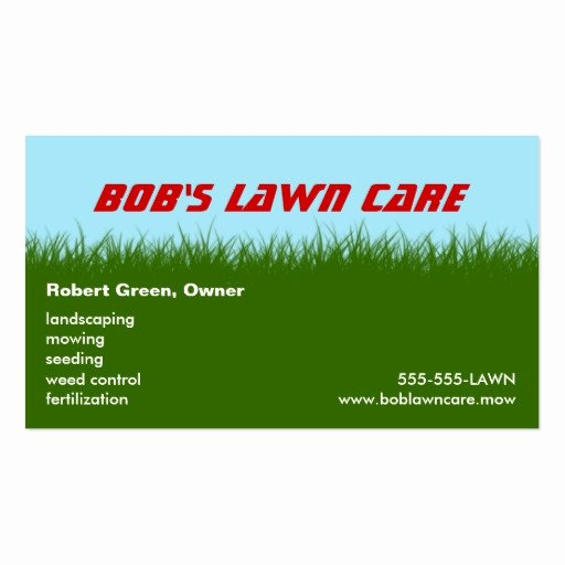 Landscape Business Card Template Elegant Lawn Care Green Grass Landscaping Mowing