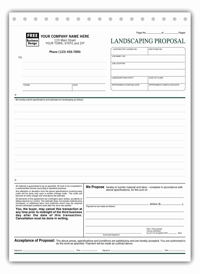 Landscape Design Proposal Template Lovely Free Landscaping Proposal Templates