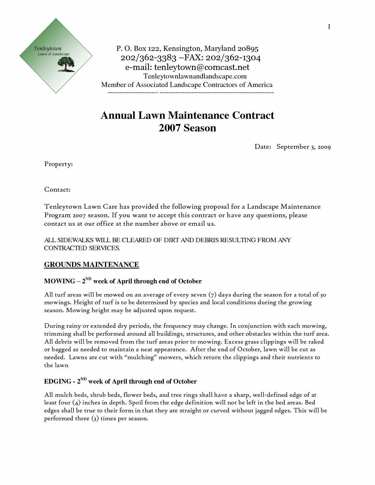 Landscape Design Proposal Template Unique Grounds Maintenance Proposal Template
