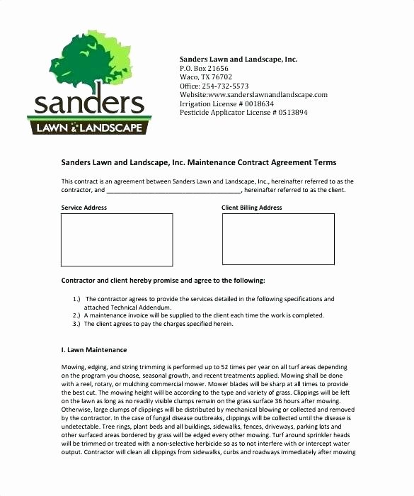 Landscape Maintenance Contract Template Beautiful Awesome Lawn Care Contract Template Free Mowing Sample