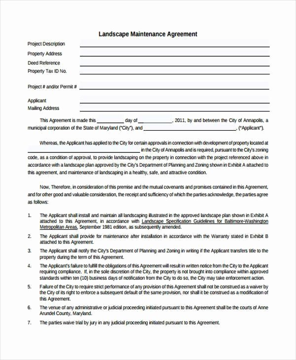 Landscape Maintenance Contract Template Best Of Sample Maintenance Contract forms 8 Free Documents In