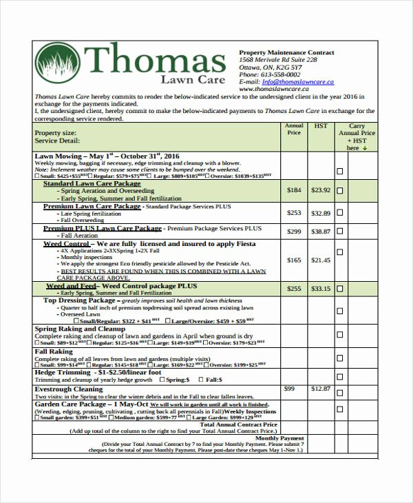 Landscape Maintenance Contract Template Elegant 10 Lawn Service Contract Templates Free Sample Example