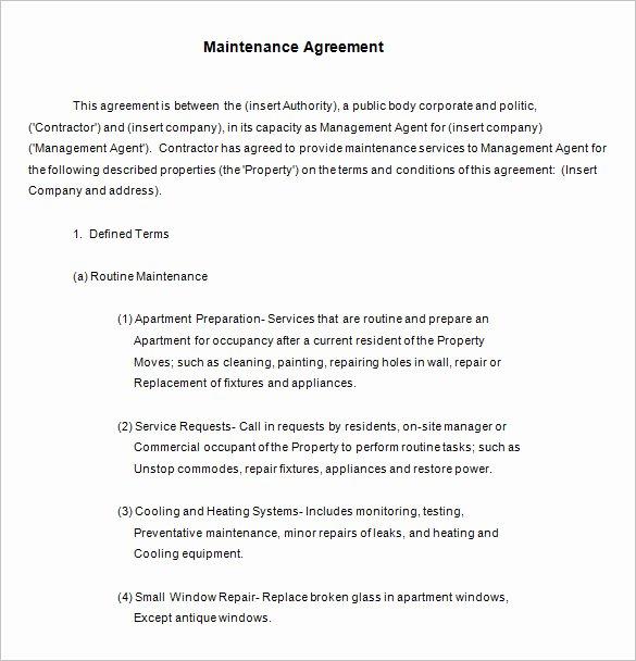 Landscape Maintenance Contract Template Elegant 13 Maintenance Contract Templates Free Word Pdf