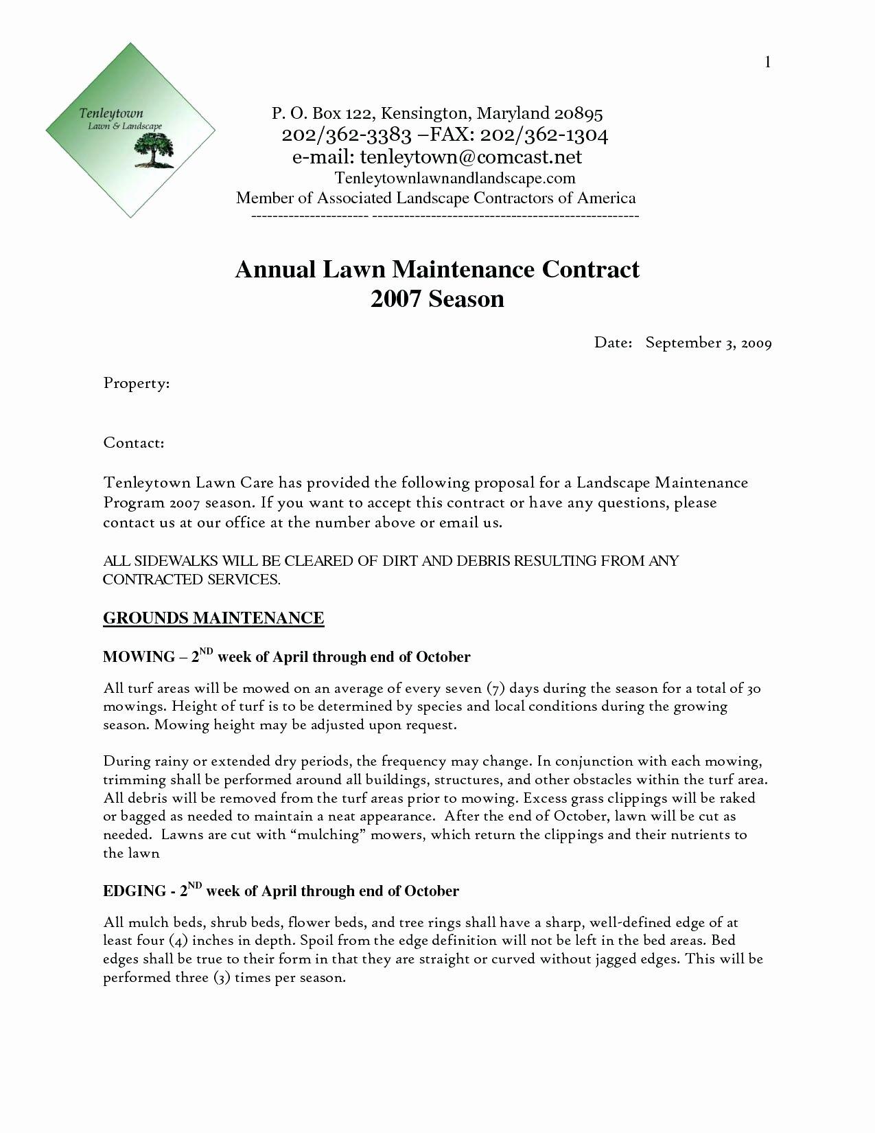 Landscape Maintenance Contract Template Fresh Template Landscaping Contract Template