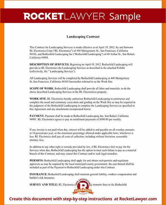 Landscape Maintenance Contract Template Inspirational 8 Landscaping Contract Template
