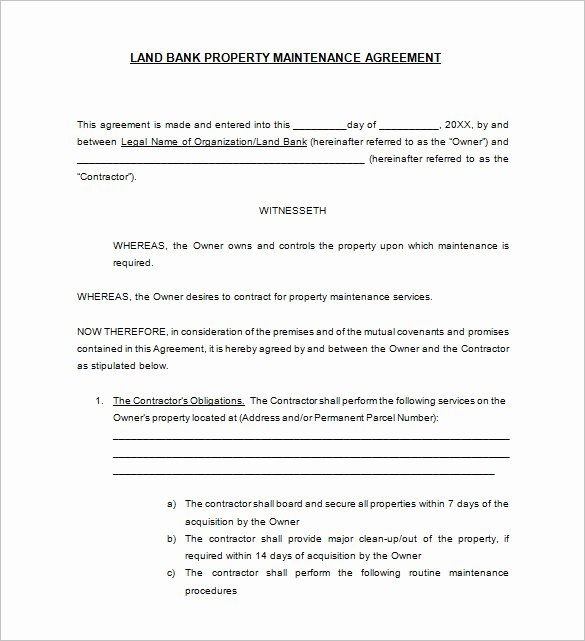 Landscape Maintenance Contract Template Lovely 20 Maintenance Contract Templates Docs Word Pages