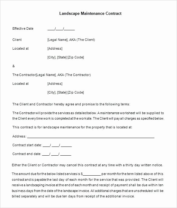Landscape Maintenance Contract Template Lovely Landscaping Maintenance Agreement Template Lawn Service