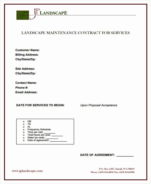 Landscape Maintenance Contract Template Luxury 9 Maintenance Agreement Examples In Word Pdf