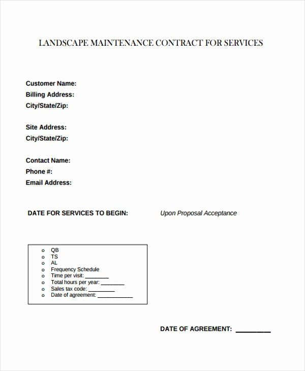 Landscape Maintenance Contract Template Unique 9 Maintenance Contract Templates Free Sample Example
