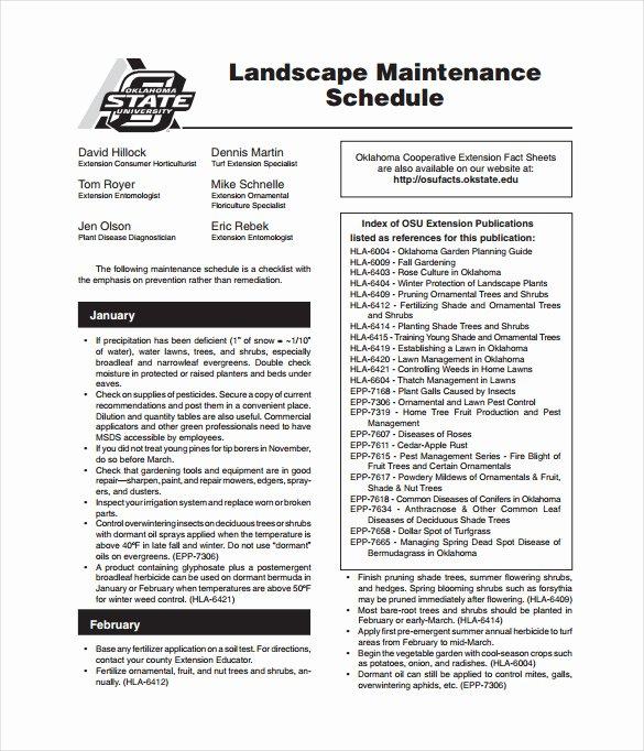 Landscape Maintenance Schedule Template Best Of Maintenance Schedule Templates 35 Free Word Excel Pdf