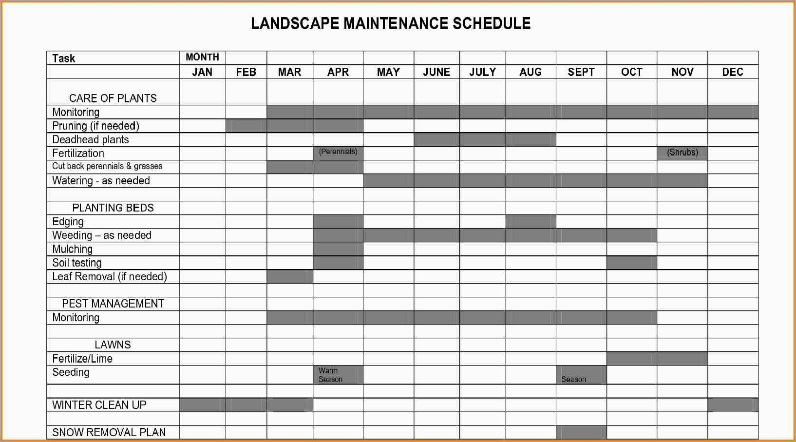 Landscape Maintenance Schedule Template Elegant Landscape Management Plan Template