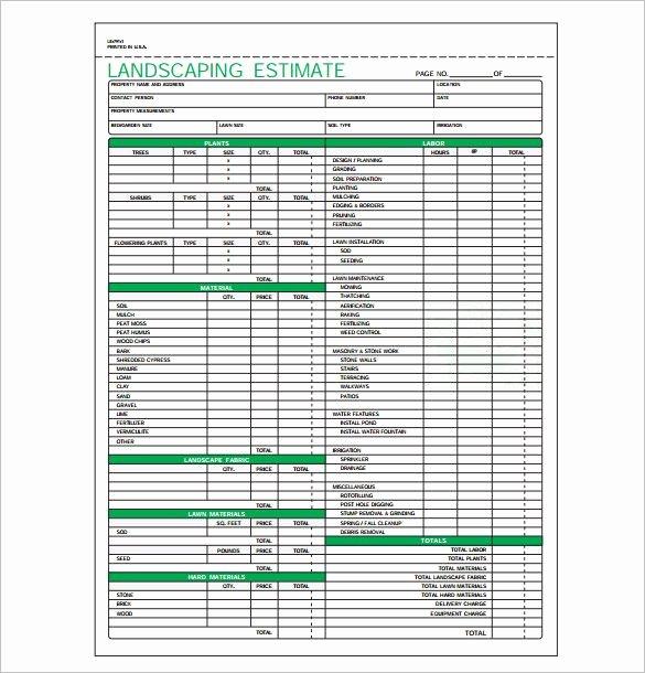 Landscape Maintenance Schedule Template Fresh Landscaping Estimate Template Pdf format Download 585