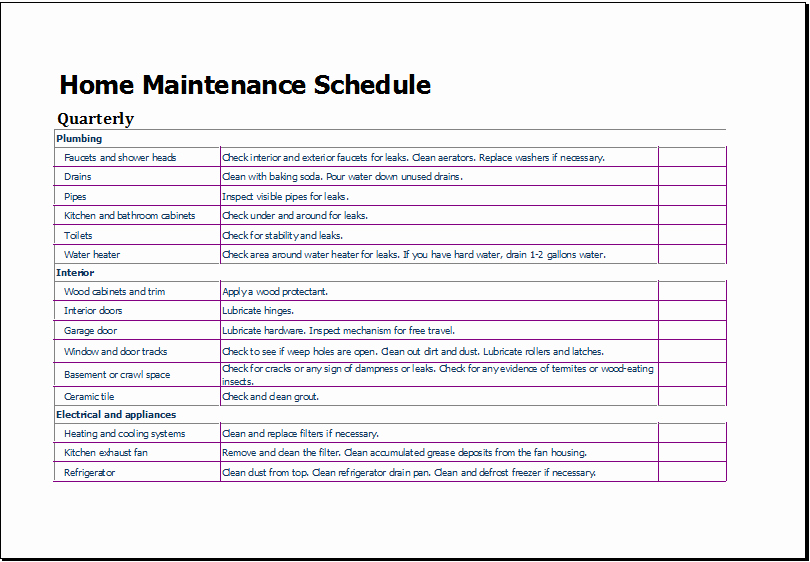 Landscape Maintenance Schedule Template Inspirational Home Maintenance Schedule Lawn Maintenance Schedule