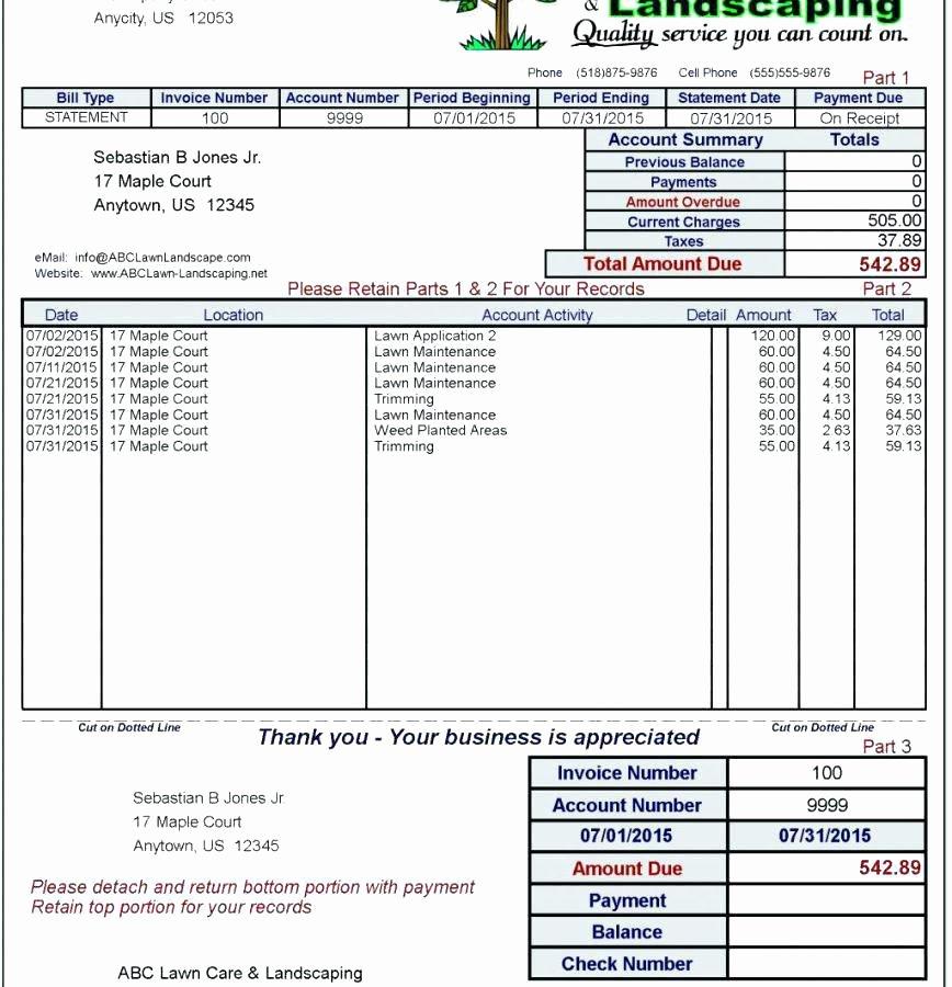 Landscaping Invoice Template Free Elegant Landscaping Invoice Template