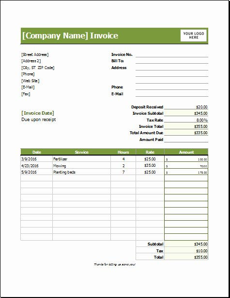 Landscaping Invoice Template Free Lovely Landscaping Invoice Template – Amandae
