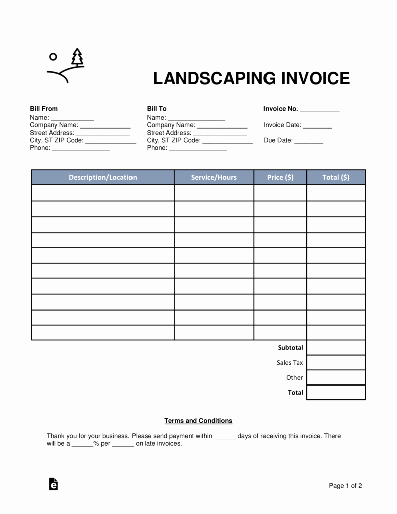 Landscaping Invoice Template Free New Free Landscaping Invoice Template Word Pdf