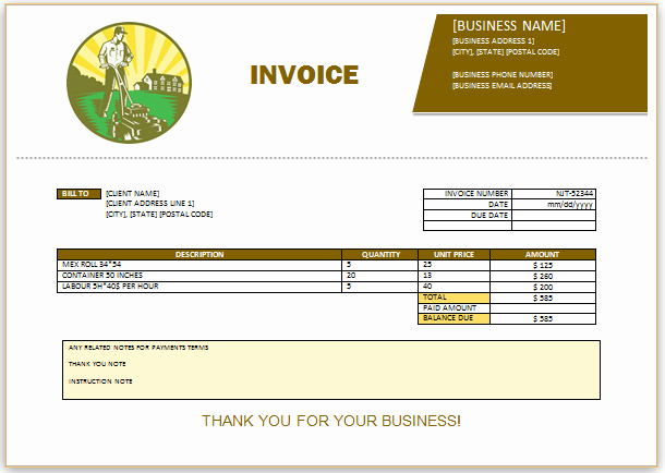 Landscaping Invoice Template Free Unique 10 Free Landscaping Invoice Templates [professional